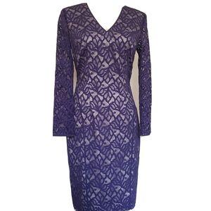 Reiss Womens V-Neck Mid Length Sheath Dress royal